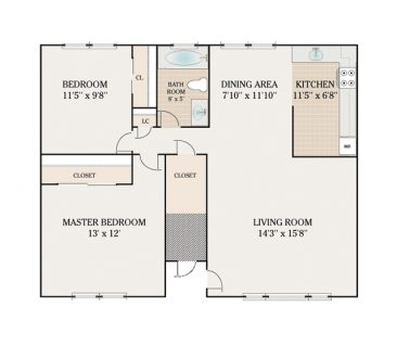 2 Bedroom 1 Bathroom. 604 sq. ft.